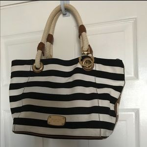 Michael Kors Navy and White Striped purse